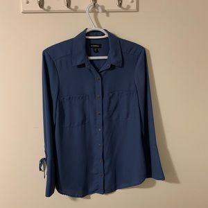 Le Chateau Blue Dress Shirt button up